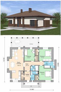 План одноэтажного дома до 120 кв.м.