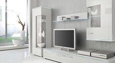 Minimalistyczna biała meblościanka. http://www.aaaameble.pl/ #nowoczesnemeble #mebledosalonu #meble #minimalistycznemeble #mebleniemieckie #dom #aranzacjedom #aranzacje