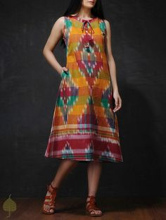 Buy Multicolored Front Tie-Up Handloom Cotton Dress Online Multicolored Front Tie-Up Handloom Cotton Dress Designs For Dresses, Dress Neck Designs, Blouse Designs, Kalamkari Dresses, Ikkat Dresses, One Piece Dress, The Dress, Tie Up Dress, Frock Dress