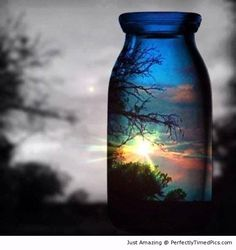 Sunset though a glass   Perfectly Timed Pics