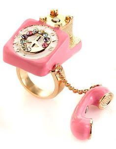 Dream Phone Telephone Ring In Gold/Pink Cute Jewelry, Jewelry Box, Jewelry Accessories, Unique Jewelry, Jewelry Sites, Geek Jewelry, Gothic Jewelry, Indian Jewelry, Jewlery
