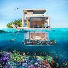 """""""The Floating Seahorse"""" isn't a reality yet but it will be by the end of 2016. Dubai developer Kleindienst Group recently revealed this visually stunning rendering for #luxury floating homes with underwater rooms. As of this month, 35 of the 42 units had already been sold. These exceptionally luxurious homes in the Pursian Gulf bring a whole new meaning to the phrase sleeping with the fishes… #luxuryrealestate #underwater"""