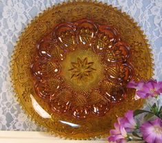Amber Tiara Sandwich Indiana Glass Deviled Egg Plate. $37.99, via Etsy.
