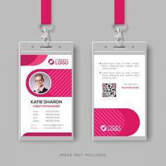 Stylish id card template with pink details Premium Vector Identity Card Design, Name Card Design, Create Business Cards, Business Card Design, Badge Design, Flyer Design, Corporate Id, Corporate Offices, Rosas Vector