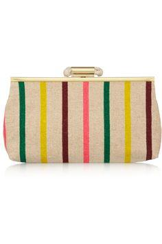 J.CREW Candy Striped canvas clutch $98 \\