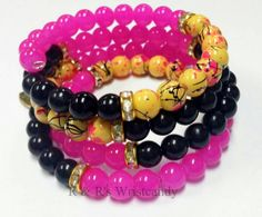 Pink and Black Coil Beaded Bracelet by RandRsWristCandy on Etsy, $12.00