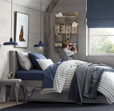 "gray + navy bedroom. Just too keep a vision of the ""feel"" of navy and gray together, especially with a more neutral wall like the gray in your room. (Love these navy hanging end-table lights!!!!)"