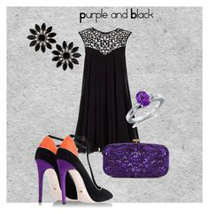 Purple and Black by giubagnols on Polyvore featuring polyvore, fashion, style, Lipsy, Jerome C. Rousseau, Oscar de la Renta, Topshop, Blue Nile and clothing