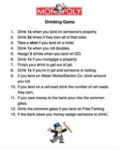 Birthday Games For Girls Life 35 New Ideas - Drinking games for parties - Monopoly Drinking Game, Drinking Games For Parties, Drinking Games For Couples, Adult Drinking Games, Friends Drinking Game, Monopoly Party, Adult Games, Games For Girls, 21st Birthday Games