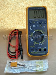 Multímetro digital Electro DH Mod.: 60.132 con pantalla retroiluminada LCD, puntas de prueba y sonda de temperatura (300ºC). www.jsvo.es