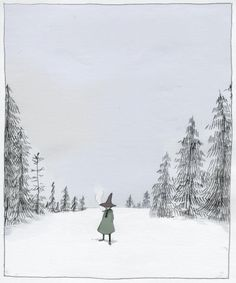 Snufkin in Winter Moomin Valley, Tove Jansson, Ink Illustrations, Fauna, Watercolor Illustration, Dark Art, Art Inspo, Finland, Fairy Tales