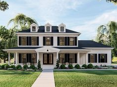 050H-0317: Two-Story Southern House Plan; 2267 sf Colonial House Exteriors, Colonial Exterior, Colonial House Plans, Southern House Plans, Southern Style Homes, Modern Colonial, House Ideas Exterior, Home Designs Exterior, Southern Charm