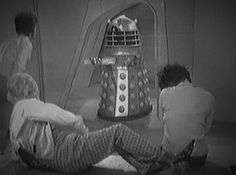 "socratescloset:  Classic Dalek screenshot of the day: From ""The Daleks"", 1963. Dalek: ""We have brought you food… and/or water."" Gotta love those xenophobic, antisocial Daleks!  #Classic Who"