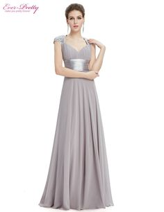 def8571170 V-neck White Sequins Chiffon Ruffles Empire Line long evening dress