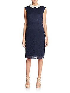 Betsey Johnson - Lace Embellished-Collar Sheath Dress
