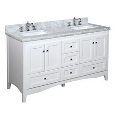 THIS IS THE ONE - same price on amazon as on company website. Decide on color (white or grey with gray or beige top) - Abbey 60-inch Double (Carrara/White) – KitchenBathCollection $1,800 with marble top, sink, and shipping - special right now includes backsplash and faucets in price. also comes in a beige marble top.