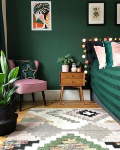 Filling a home (or a room or two) with dark paint colors isn't easy, but the s. Filling a home (or a room or two) with dark paint colors isn't easy, but the striking, moody final look may make the risk worth it—and with these Bedroom Green, Green Rooms, Forest Green Bedrooms, Emerald Green Bedrooms, Emerald Bedroom, Jewel Tone Bedroom, Bedroom Turquoise, Dark Paint Colors, Bedroom Paint Colors