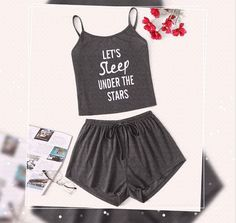 To find out about the Slogan Print Cami Pajama Set at SHEIN, part of our latest Pajama Sets ready to shop online today! Cute Pajama Sets, Cute Pjs, Cute Pajamas, Pajamas Women, Cute Sleepwear, Cute Lazy Outfits, Stylish Outfits, Pajama Outfits, Vetement Fashion