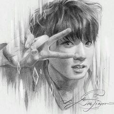 Jungkook Fan Art Kpop ʕ Jungkook Fanart, Kpop Fanart, Bts Jungkook, Kpop Drawings, Art Drawings Sketches, Pencil Drawings, Tag Art, Dibujos Tumblr A Color, Bts Fans