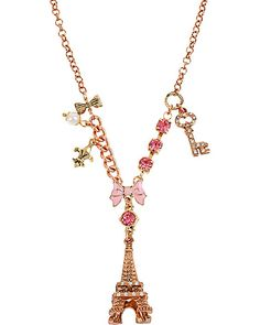 EIFFEL TOWER PENDANT NECKLACE PINK accessories misc. gifts high top