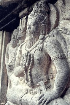 This is a bas-relief in one of the temples in Prambanan Temple compound in Yogyakarta [Indonesia]. The bas-reliefs are placed along the walls of the temples. They tell stories on Hindu epic called Ramayana.