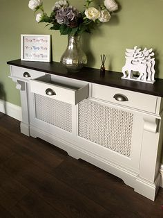 radiator cover with drawers above Storage Heater Covers, Radiator Heater Covers, Modern Radiator Cover, Kitchen Radiator, Radiator Shelf, Designer Radiator, Small Hallways, Hallway Designs, Hallway Storage