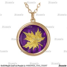 Gold Maple Leaf on Purple Round Pendant Necklace
