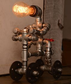 Designer Industrial Lighting Bike man Steampunk Lamp Table