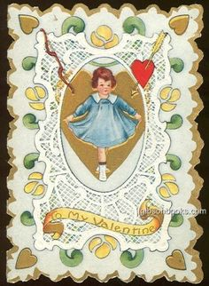 Whitney Made Victorian Valentine Card with Dancing Girl in Blue Dress