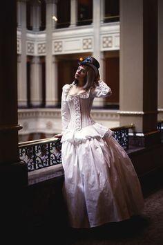 WANT!!!!!!!   Steampunk Wedding Dress Corset Jacket Alternative by KMKDesignsllc