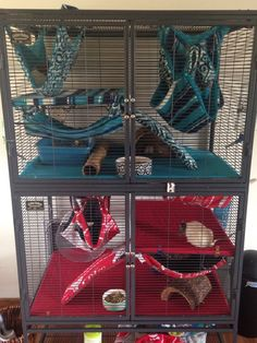 Cool Critter Nation cage setup. I love the fleece patterns and layouts.