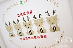 Christmas Reindeer Frame with Foxy Friends by Stampin' Up! ~ Susan Wong