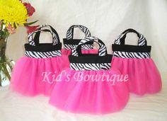 Set of 15 Pink Diva Zebra Party Favor Tutu Bags - Birthday Gift Bags. $149.25, via Etsy.