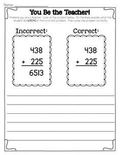 Addition and Subtraction with Regrouping {FREEBIE} by Jamie Rector Math Worksheets, Math Resources, Math Activities, Math Games, Fourth Grade Math, Second Grade Math, Grade 2, Math Addition, Addition And Subtraction