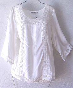 NEW~SOLITAIRE~White Crochet Lace Peasant Blouse Shirt Boho Top~8/10/M/Medium #Solitaire #Blouse #Casual