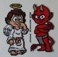 Angel and Devil I designed and made in mini Perler beads.