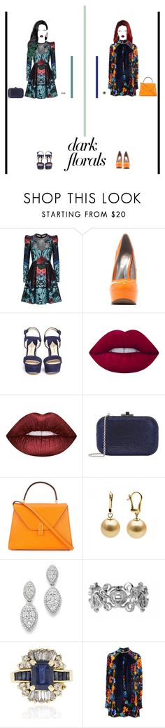 """Friends in Deep Florals"" by nello-hope on Polyvore featuring Elie Saab, Veda Soul, Paul Andrew, Lime Crime, Judith Leiber, Valextra, Bloomingdale's, Gucci and darkflorals"