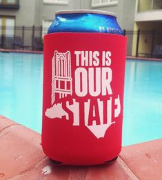 NC State Koozie: This Is Our State by ThePinkHousePress on Etsy, $5.00 #NCState #NCStateKoozie #NCSU #Wolfpack #ThisIsOurState