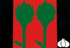 tovaglietta realizzata con veline per Orto Damare - carciofi e aglio -