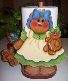 Handpainted  Gingerbread Paper Towel Holder by stephskeepsakes, $21.95