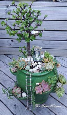 Cute fairy garden with succulents