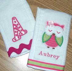Baby Girl Burp Cloth Set - Owl Monogrammed Polka Dot Letter / Personalized on Etsy, $22.00
