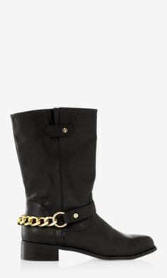CHAIN EMBELLISHED MOTO BOOT from EXPRESS
