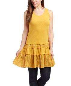 Another great find on #zulily! Yellow Eyelet Drop-Waist Dress #zulilyfinds