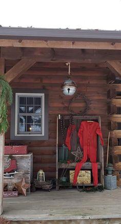 Primitive Christmas, Porch, Balcony, Patio, Prim Christmas, Vintage Christmas, Sunrooms