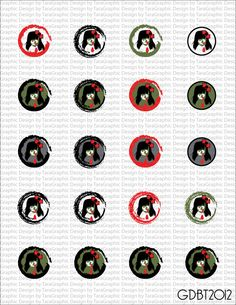 Zombie Girls Digital Image Sheet for 1 Inch Bottlecaps Personal and Commercial Use  graphicdesignbytara - Craft Cafe