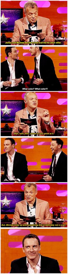 [gifset] Graham Norton reads a James McAvoy and Michael Fassbender fan fiction summary to James McAvoy and Michael Fassbender. I saw the whole episode on youtube they were so funny. Mike is abit shy n quiet and James is so hyper lol