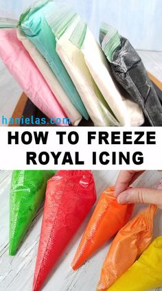 Royal Icing How to freeze royal icing. Tips and tricks how effectively use it for decorating projects. VIDEOHow to freeze royal icing. Tips and tricks how effectively use it for decorating projects. Fancy Cookies, Iced Cookies, Cookies Et Biscuits, Summer Cookies, Sugar Cookie Icing, Royal Icing Cookies, Cookie Frosting, Wilton Royal Icing Recipe, Royal Icing Piping