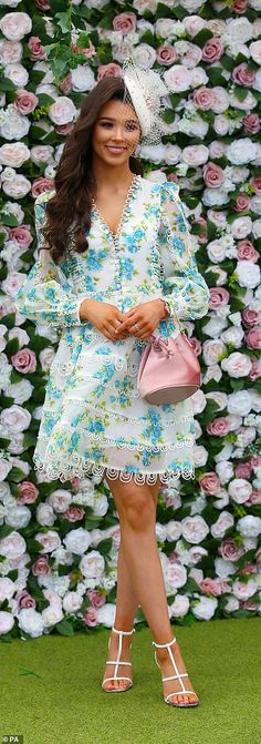 Aintree Festival 2019 Day Glamorous guests get out their best glad rags for Ladies Day Charlotte Hawkins, White Flip Flops, Bright Dress, Monochrome Outfit, Boucle Jacket, Floral Headpiece, Blue Coats, Blue Cardigan, Black Blazers