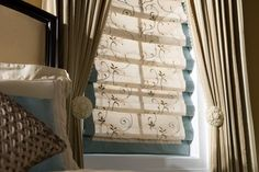 Floral Roman with Banding and Side Panels - traditional - roman blinds - burlington - Gordon's Window Decor